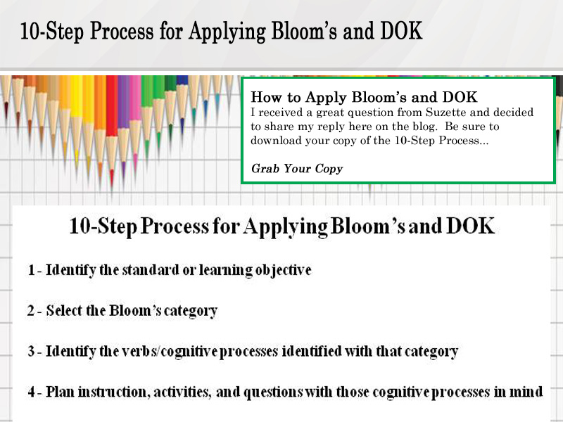 Click for 10-Step Process for Applying Bloom's and DOK