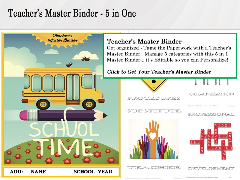 Teacher's Master Binder Click for this 5 in One Binder