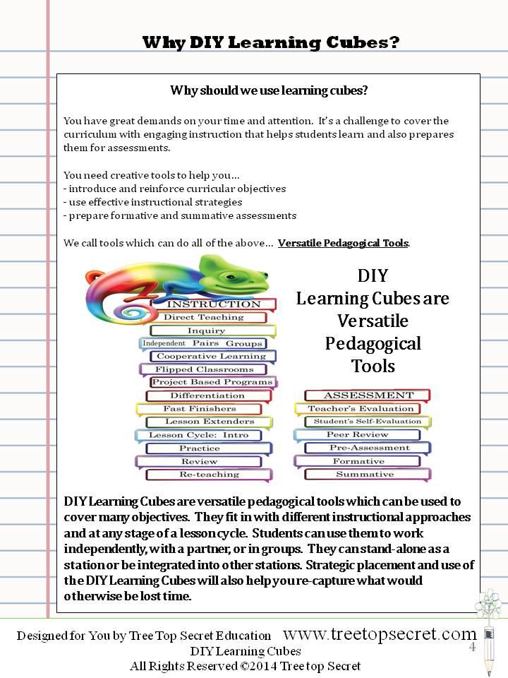 Diy Learning Cubes Reading And Ela Bundle Treetopsecret Education