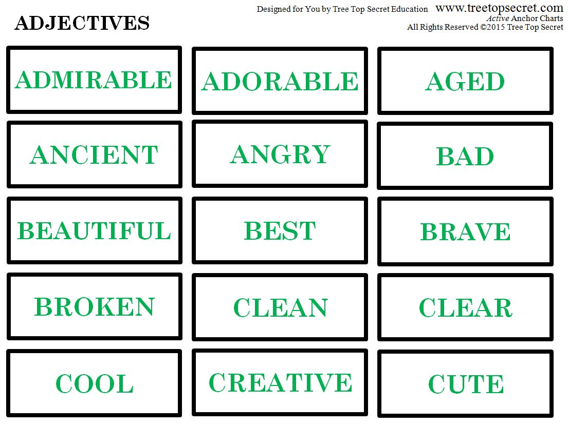 active anchor chart adjectives treetopsecret education